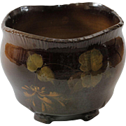 Vintage Brown Glazed Ceramic Planter Cachepot Jardiniere With Leaves and Flowers
