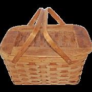 Mid Century Vintage Woven Oak Picnic Basket