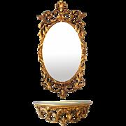Vintage Turner Co. Mid Century Hollywood Regency Mirror and Shelf Console Set