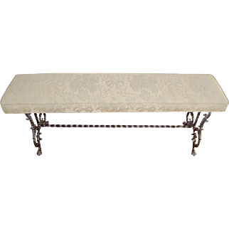 Fabulous 1930's Vintage French Jacquard & Iron Scrolled Bench