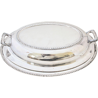 Poole Silver Co. Vintage Oval Heavy Silverplate Georgian Serving Dish