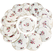 Beautiful set of Floral Porcelain Czechoslovakian Hallmarked Dessert Plates - Set of 13