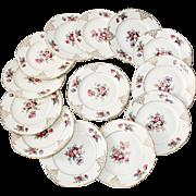Beautiful set of Floral Porcelain Czechoslovakian Hallmarked Dessert Plates - Set of 13