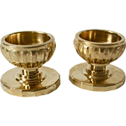 Swedish Skultuna Massing 1607 Modern Brass Candle Holders - A Pair