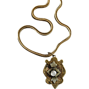 Antique Etruscan Gold Filled and Crystal Pendant/Necklace