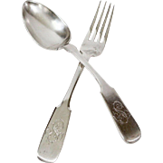 Russian Sterling Hallmarked Anatoli Apollonovich Serving Fork and Spoon