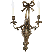 Vintage French Cherub Bronze Sconce