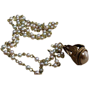 Vintage Mauve Pearl Watch Fob on Pastel Pearl Chain
