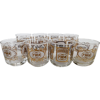 Vintage Mid Century TWA International Cocktail Glasses - Set of 8 Countries