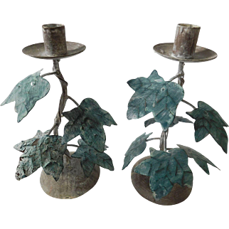 Vintage Aqua and Gray Washed Metal Leaf Candle Holders - A Pair