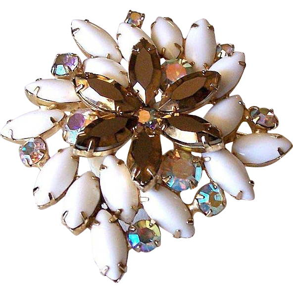 Topaz and Milk Glass Marquis Rhinestones Brooch Pin