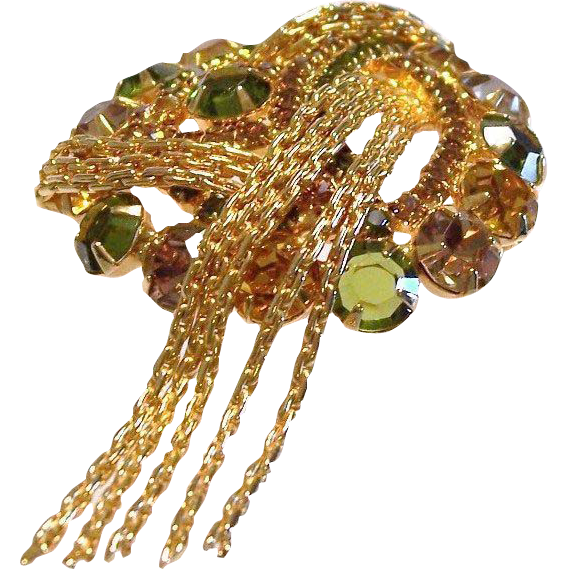 Juliana Rhinestone Tassel Brooch Pin