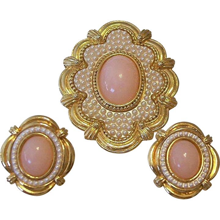 Brooch and Earrings Set Pink Cabochons Faux Seed Pearls