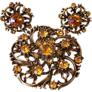 Rare Coro 1950's Golden Topaz Rhinestones Pin And Earrings Set Book Piece