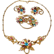 Coro Three Piece Necklace Set Multi Color Rhinestones