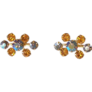 Topaz and Blue Aurora Borealis Rhinestone Screw Back Earrings
