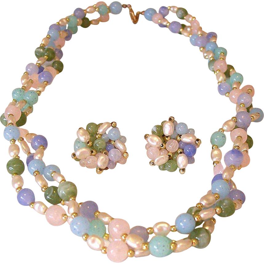 Faux Colored Gemstones and Pearls Necklace Clip Earrings Set