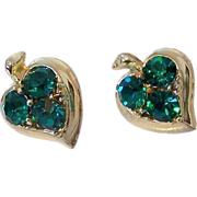 Teal Green Rhinestone Screw Back Earrings