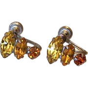 Citrine And Topaz Colors Rhinestone Screw Back Earrings