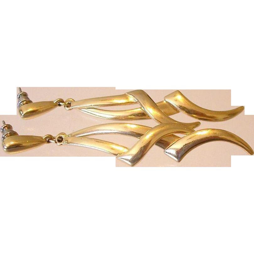 Crown Trifari Gold Tone Drop Earrings