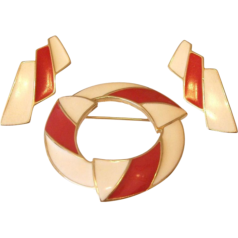 Trifari Red and Cream Enamel Brooch Earrings Set