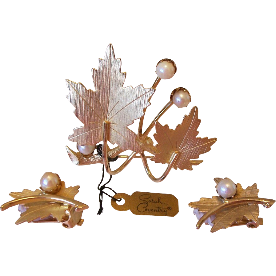 """Precious"" 1960's Sarah Coventry Leaf and Pearls Brooch Pin and Earrings Set"