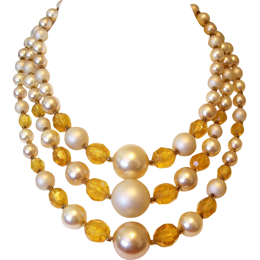 Japan Three Strands Amber Lucite and Faux Pearl Beads