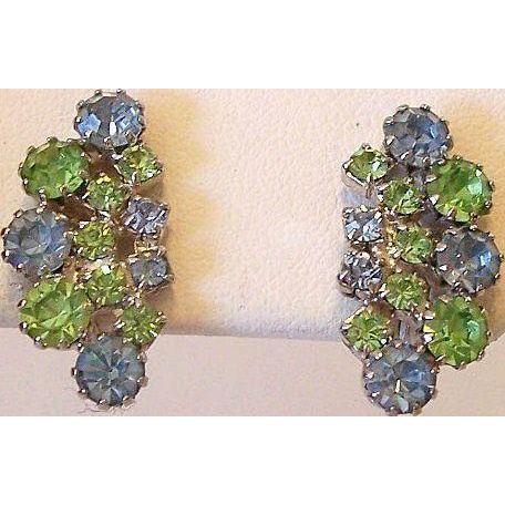 Blue And Green Rhinestone Clip Earrings