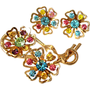 Retro Coro Floret Motif Brooch Pin and Earrings