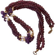 Amethyst Chips Garnet Glass Beads Rice Pearls Torsade Necklace