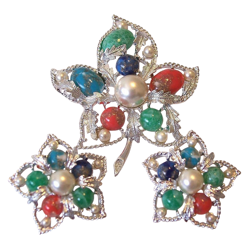 "Sarah Coventry ""Fantasy"" 1967 Brooch and Earrings"