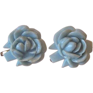Vintage Celluloid Carved Blue Rose Screw Back Earrings