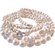 Laguna Crystals and Simulated Pearls Necklace