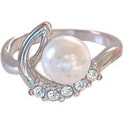 Simulated Pearl Diamonds Ring Size 8.75
