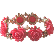 Coral Celluloid Cabbage Roses Sectional Bracelet