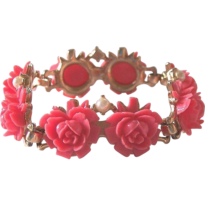 Faux Coral Cabbage Roses Sectional Bracelet