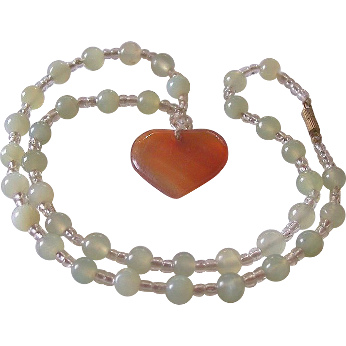 Stone Heart Pendant Necklace With Green Quartz Beads