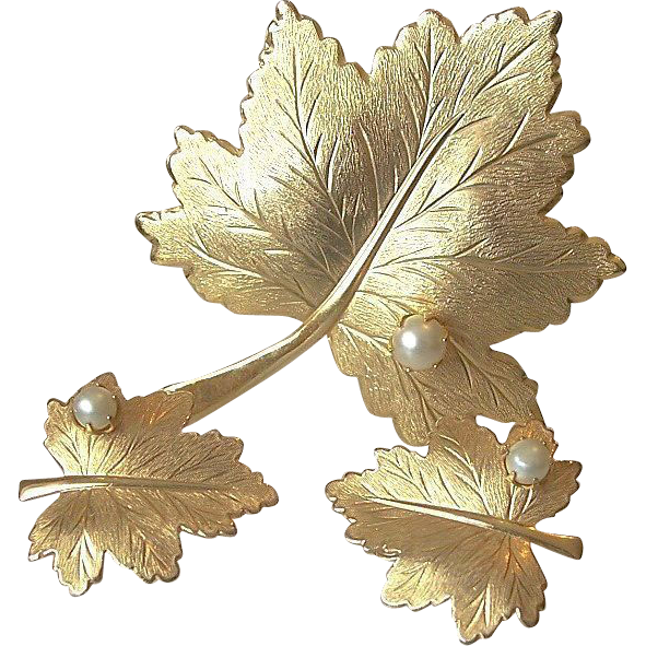 "Sarah Coventry 1968 ""Whispering Leaf""  Pin Clip Earrings Set"