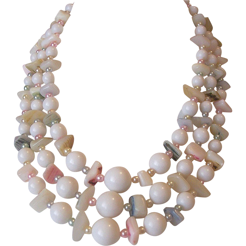 Japan Mother of Pearl Necklace Pink Blue Faux Pearls