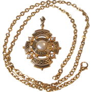 Damascene Shield and Faux Pearls Motif Pendant Necklace