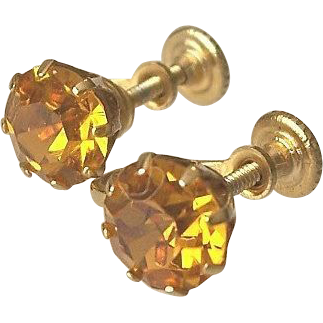 Topaz Glass Screw On Earrings