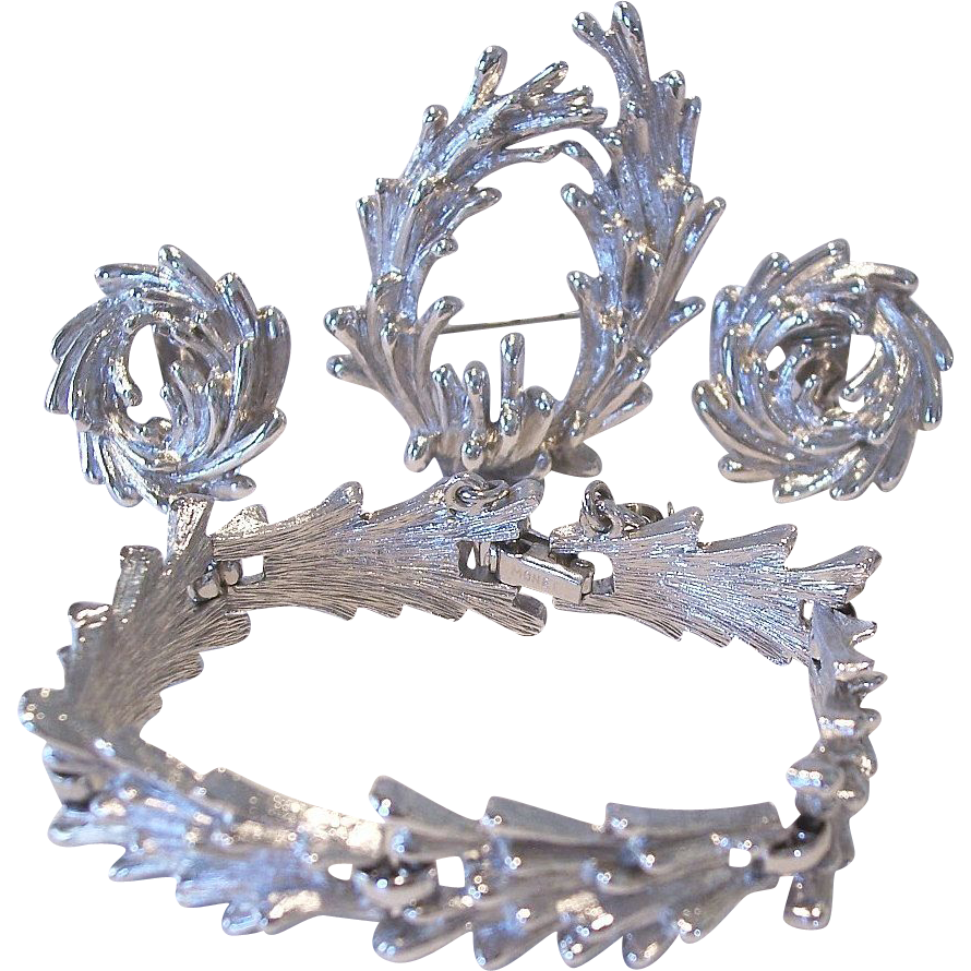 MONET Fire Coral Motif Bracelet Earrings Brooch Set