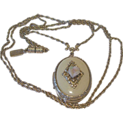 1928 Company Locket Necklace Ivory Enamel and Rosette