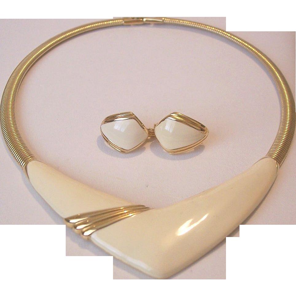 MONET Winter White Enameled Necklace Clip Earrings