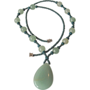 Green Jadeite Pendant and Beads Necklace