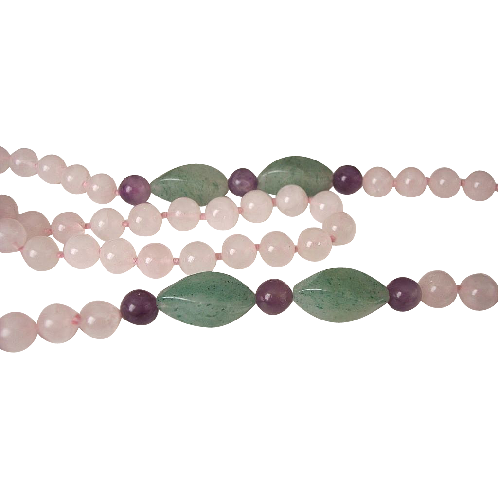 30.0 Inch Rose Quartz Adventurine and Amethyst Beads Necklace