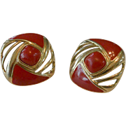 Trifari Red Enameled Post Earrings