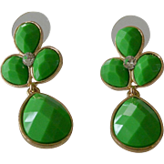 Kelly Green Lucite Cabochons Post Earrings