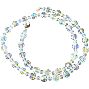 24.0 Inch Aurora Borealis Crystals Necklace Pristine Condition