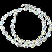 24.0 Inch Aurora Borealis Crystals Necklace Pristine Condition